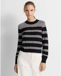Club Monaco Striped Crewneck Sweater - Black