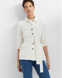Club Monaco - Ivory Textured Utility Jacket - Lyst