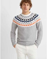 Club Monaco Light Grey Multi Fair Isle Crewneck Sweater - Gray