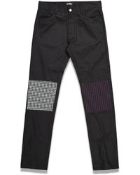 Raf Simons Jersey Knee Patches Slim Fit Denim Trousers - Blue