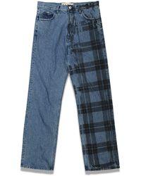 Marni Half Irish Check Print Denim Pants - Blue