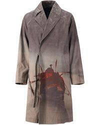 Undercover Printed Padded Long Trench Coat - Brown