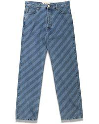 Marni - Stripe Print Denim Pants - Lyst