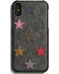 COACH Iphone Xr Case In Signature Canvas With Star Print - Black