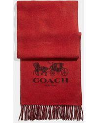 COACH Signature Cashmere Scarf - Red
