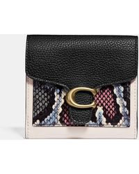 COACH Tabby Small Wallet With Snakeskin Detail - Black