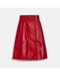 COACH Falda de piel con fruncido - Rojo