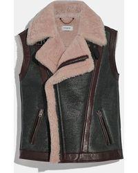 COACH Shearling Vest - Black