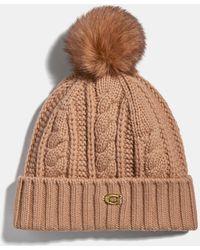 COACH Knit Hat With Shearling Pom Pom - Brown