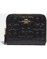 COACH Small Zip Around Wallet In Signature Leather - Black