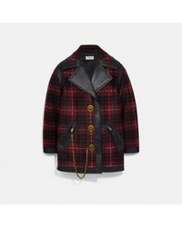 COACH Wool Coat With Leather Detail - Red