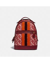 COACH Lunar New Year Barrow Backpack With Horse And Carriage Print And Varsity Stripe - Red