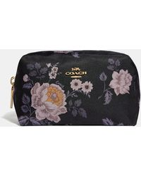 COACH Small Boxy Cosmetic Case With Garden Rose Print - Black