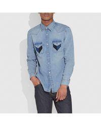 COACH Patchwork Denim Shirt - Blue