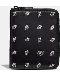COACH - Small Zip Around Wallet With Dot Diamond Print - Lyst