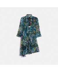 COACH Asymmetrical Dress With Kaffe Fassett Print - Green