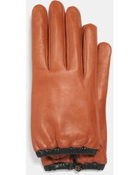 COACH Sculpted Signature Gathered Leather Touchscreen Gloves - Orange