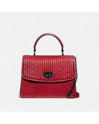 COACH Parker Top Handle With Quilting And Rivets - Red