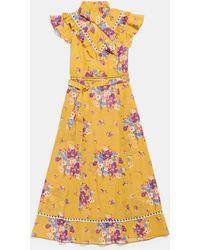 COACH Daisy Bouquet Sleeveless Western Dress With Necktie - Yellow