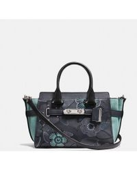 COACH - Swagger 27 With Patchwork Tea Rose And Snakeskin Detail - Lyst