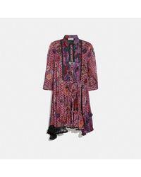 COACH Asymmetrical Dress With Kaffe Fassett Print - Red
