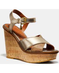 2068f007010 Cross Band High Wedge Sandal - Brown