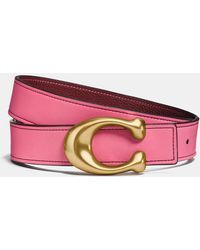 COACH Sculpted Signature Reversible Belt - Pink