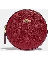 COACH Round Coin Case - Red