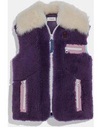 COACH Shearling Vest - Purple