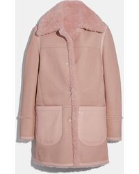 COACH - Reversible Shearling Coat - Lyst