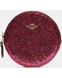 COACH Boxed Round Coin Case - Red