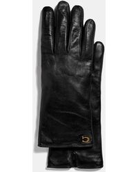 COACH Sculpted Signature Leather Touchscreen Gloves - Black