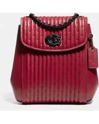 COACH Parker Convertible Backpack 16 With Quilting And Rivets - Red