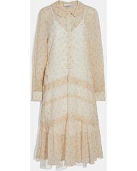 COACH - Dot Georgette Pleated Dress - Lyst