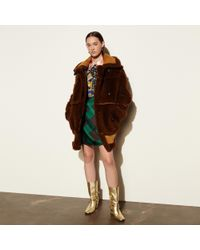 COACH Inside Out Shearling Coat - Brown