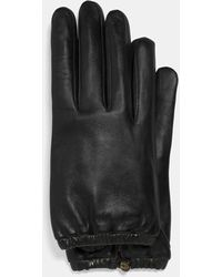 COACH Sculpted Signature Gathered Leather Touchscreen Gloves - Black