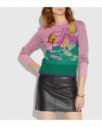 COACH - Spooky Cottage Crew Neck Sweater - Lyst