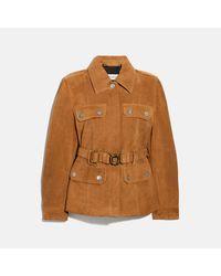 COACH Heritage Jacke aus Veloursleder mit Gürtel - Braun