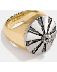 COACH Large Daisy Rivet Cocktail Ring - Metallic