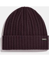 COACH Cashmere Seed Stitch Knit Hat - Purple