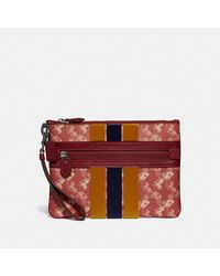 COACH Large Front Zip Wristlet With Horse And Carriage Print And Varsity Stripe - Red