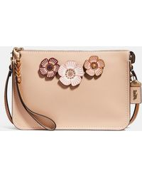 a248102b50c26 Lyst - Coach Bucket Bag 18 With Cut Out Tea Rose in Pink
