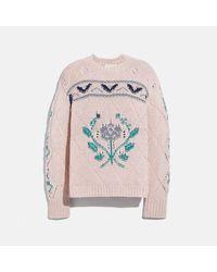 COACH Pointelle Crewneck Sweater - Pink