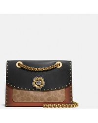 COACH Parker With Rivets And Snakeskin Detail - Black