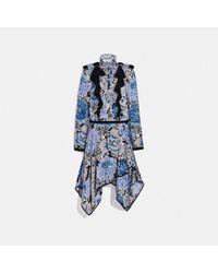 COACH : Robe à volants avec imprimé Kaffe Fassett - Bleu