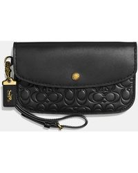 2abb6b73a21c Lyst - Coach Envelope Card Case In Colorbloock Polished Pebble ...