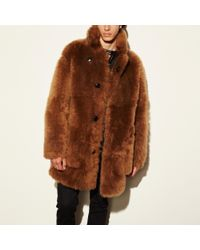 COACH Toy Soldier Shearling Pieced Coat - Brown