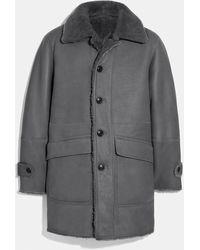 COACH Reversible Shearling Coat - Gray