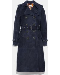 COACH Suede Trench With Printed Lining - Blue