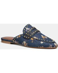 COACH Faye Loafer Slide With Painted Floral Bow Print - Blue